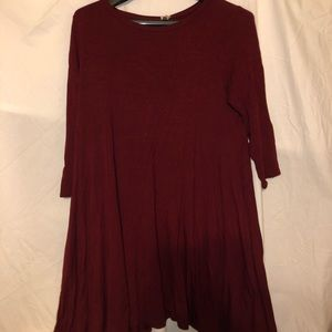 😍 WINE COLOR LOOSE FIT A-LINE JERSEY FEEL DRESS😍